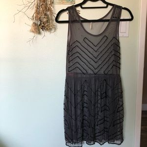 Free People Embroidered Sheer Tank Dress